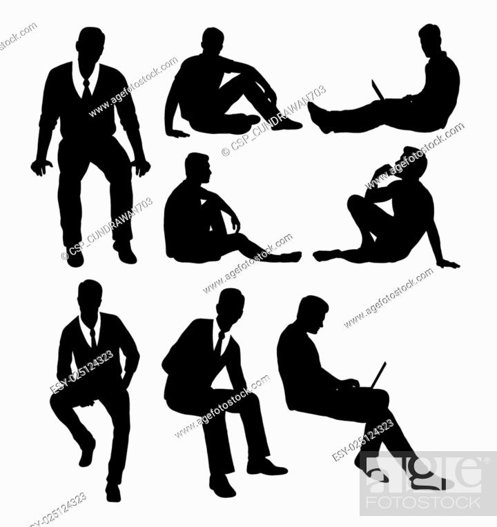 Stock Vector: Man sitting silhouettes.