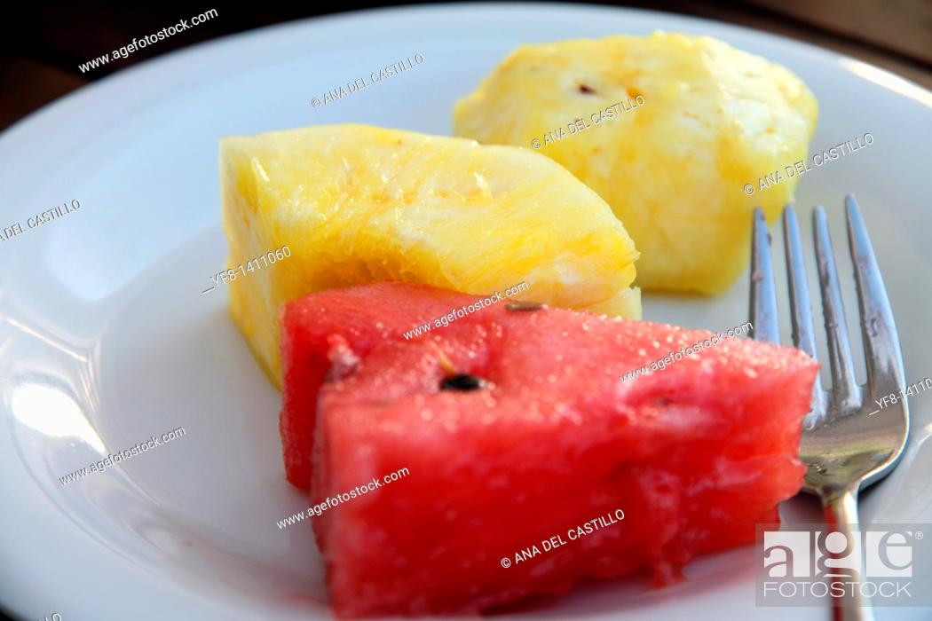 Stock Photo: Watermelon and pineapple on plate.