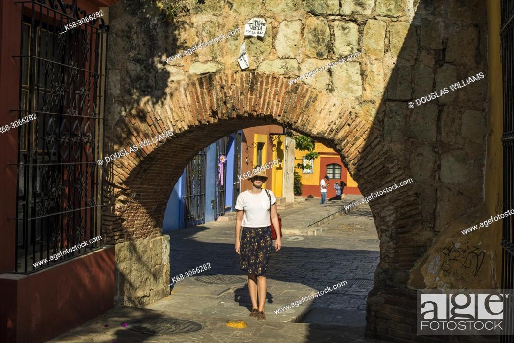 Stock Photo: woman, 26, on a street in Oaxaca city, Oaxaca, Mexico.