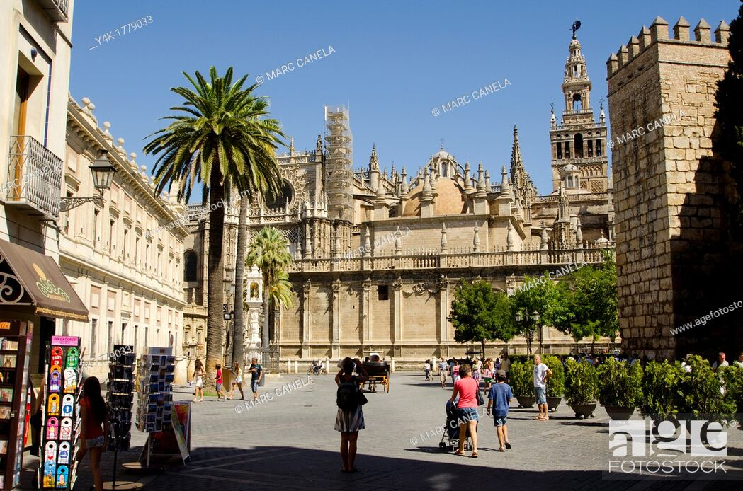 Stock Photo: Europe, Spain, Sevilla  The Giralda is the bell tower of the Cathedral of Seville  Its height is 343 feet 105 m feet  Its square base is 23 feet 7 0 m above sea.