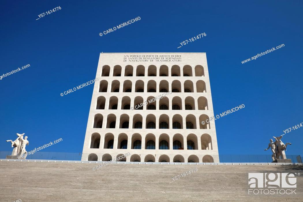 Stock Photo: Palazzo della Civiltà Italiana, or square Colosseum, EUR district, Rome, Lazio, Italy, Europe.