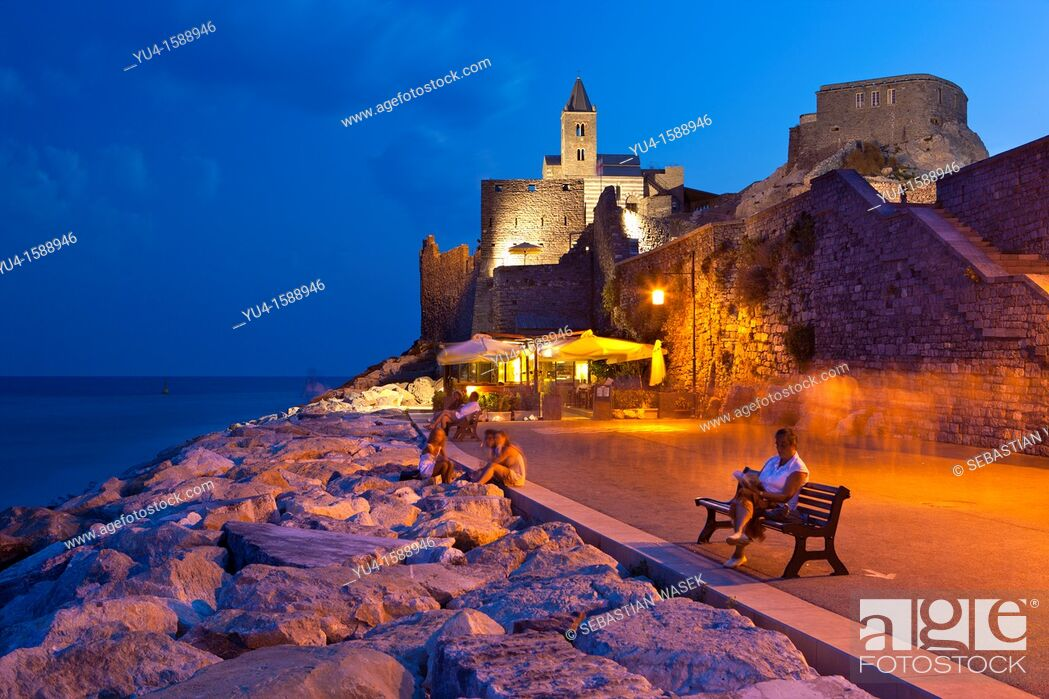 Stock Photo: San Pietro Church at Portovenere, UNESCO World Heritage Site, Liguria, Italy, Europe.