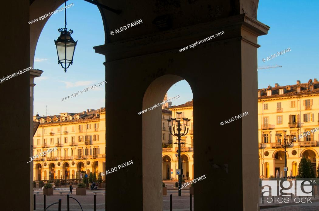Stock Photo: Italy, Piedmont, Turin, Vittorio Veneto square.