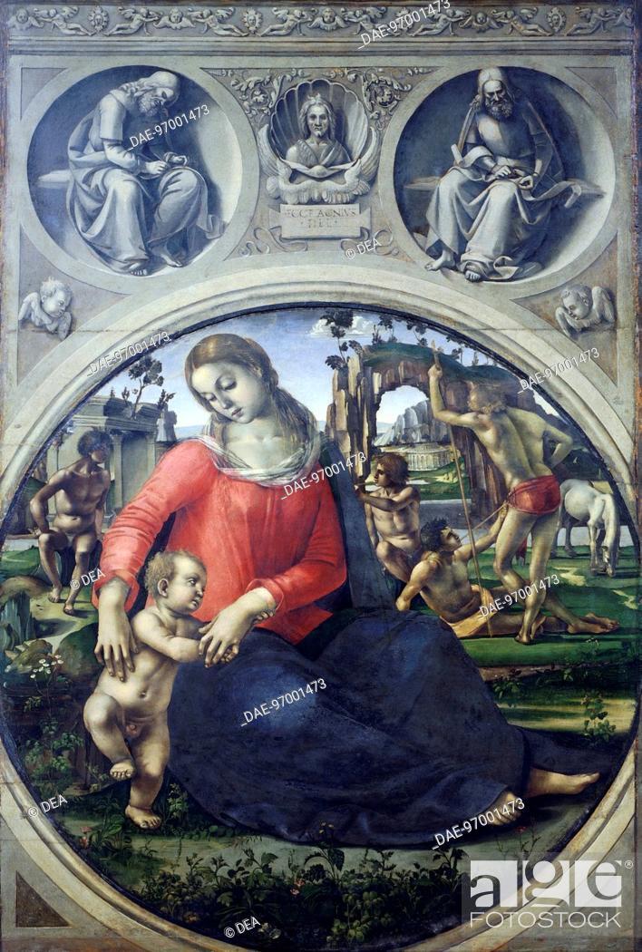 Stock Photo: Madonna and Child, by Luca Signorelli (ca 1445-1523).  Florence, Galleria Degli Uffizi (Uffizi Gallery).