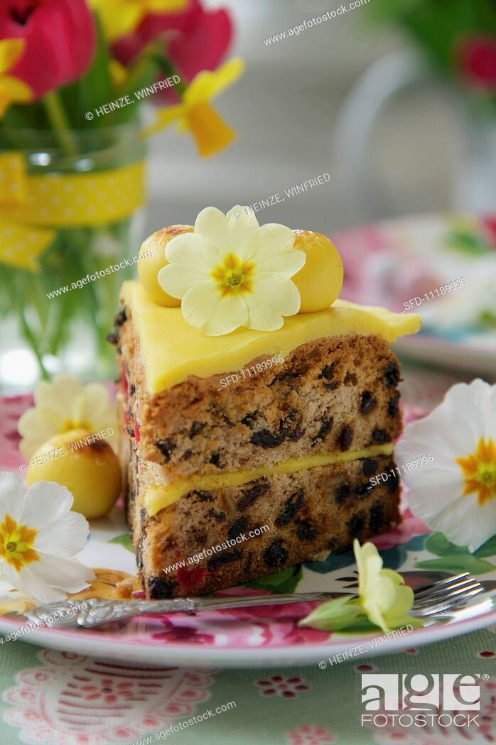 Stock Photo: A slice of simnel cake (Easter cake, England).