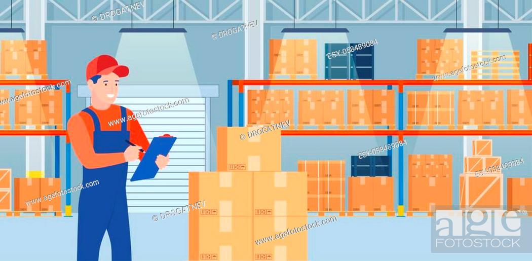 Stock Vector: Warehouse interior with cardboard boxes on metal racks. Warehouse interior with goods, pallet trucks, Man with a list of goods.