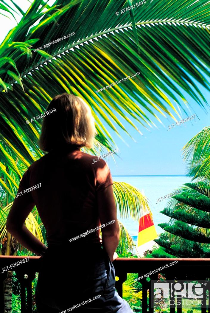 Stock Photo: Mauritius, Grand Baie, balcony with sea view.
