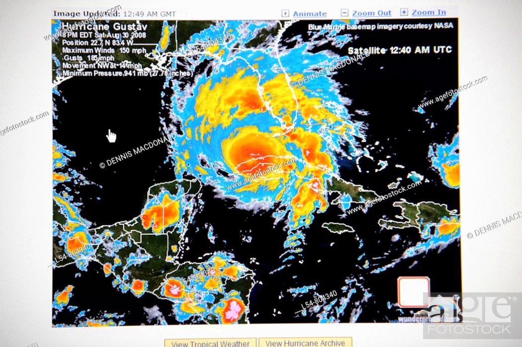 Tv Weather Map.Hurricane Satellite Weather Map As Viewed On The Internet And On Tv