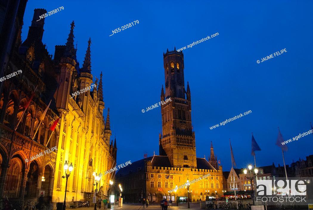 Stock Photo: Markt square, Provincial Hall and Belfort XIIIth Century in Bruges, West Flanders, Belgium.