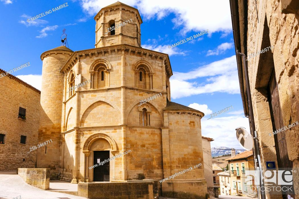 Stock Photo: Romanesque church of the Holy Sepulcher, Iglesia del Santo Sepulcro. Templar octagonal Romanesque church. French Way, Way of St. James.