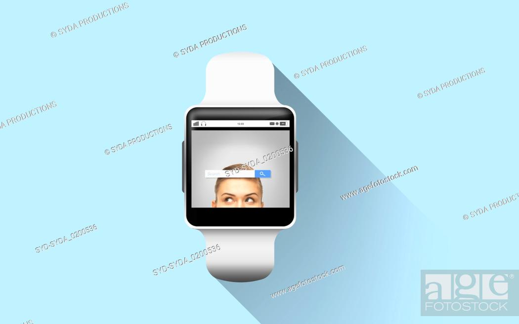 Stock Photo: close up of smart watch with internet search bar.