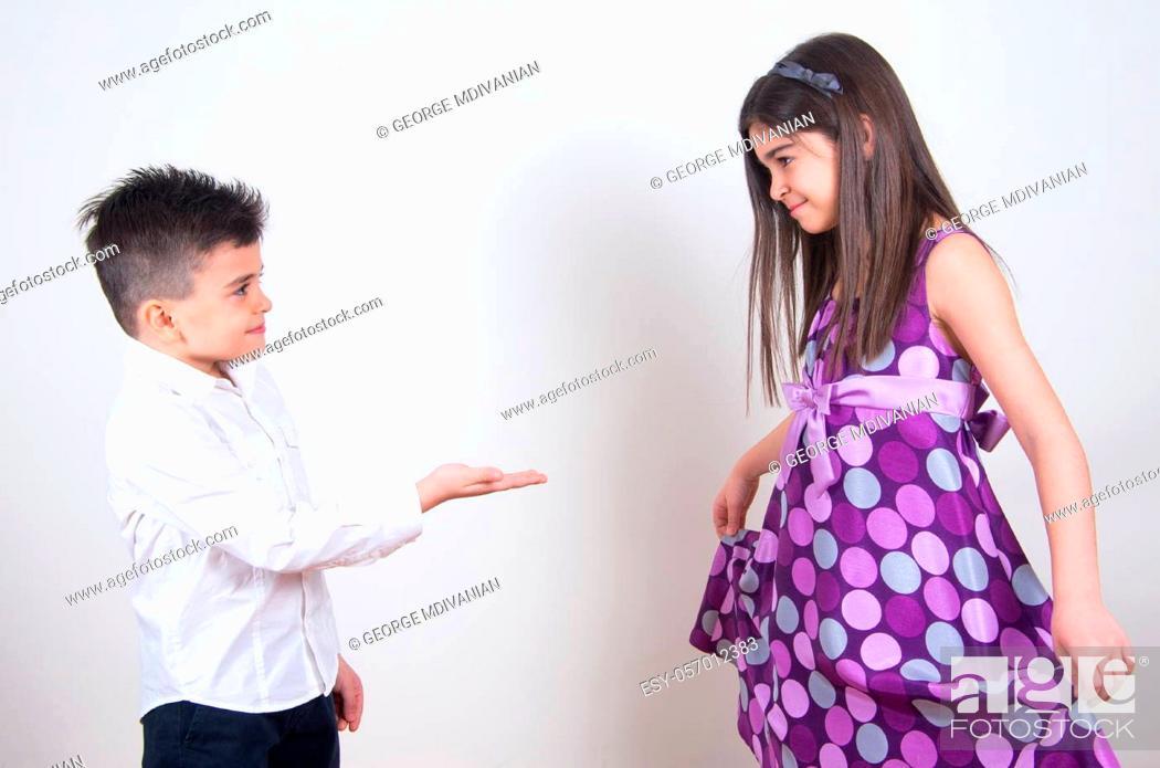 Stock Photo: little boy proposing his girlfriend.