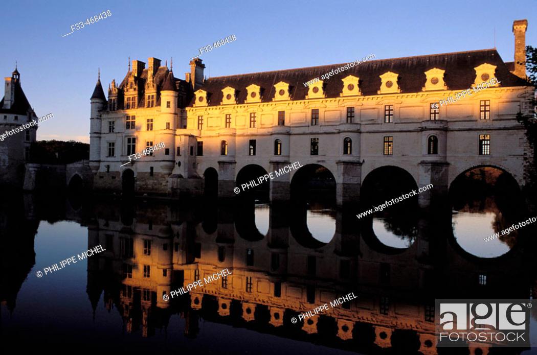 Stock Photo: Chenonceaux Castle. Val-de-Loire, France.
