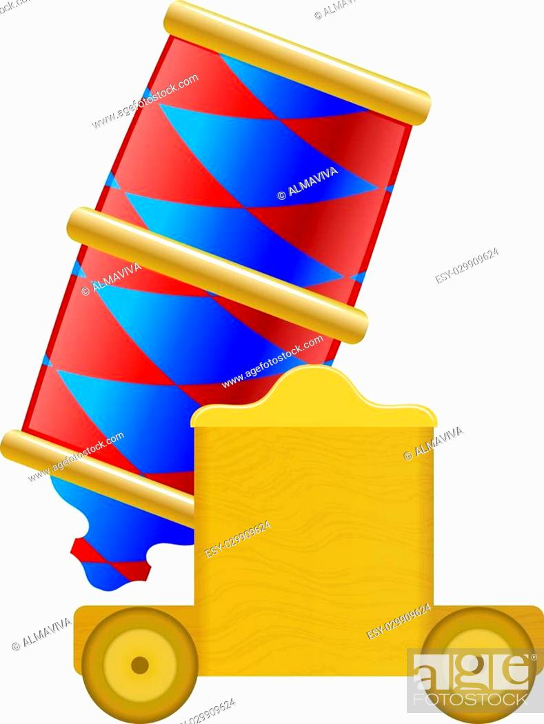 Stock Vector: Circus colored vector catoon cannon on a white background. Stock vector illustration.