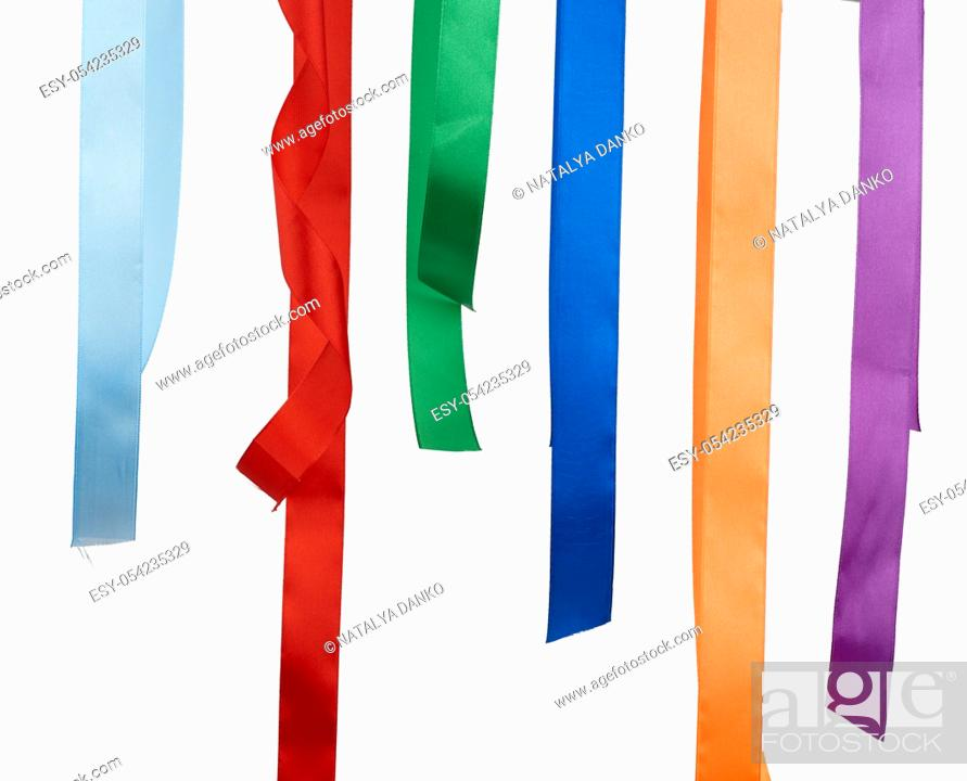 Stock Photo: multicolored silk ribbons isolated on white background, decor hangs.