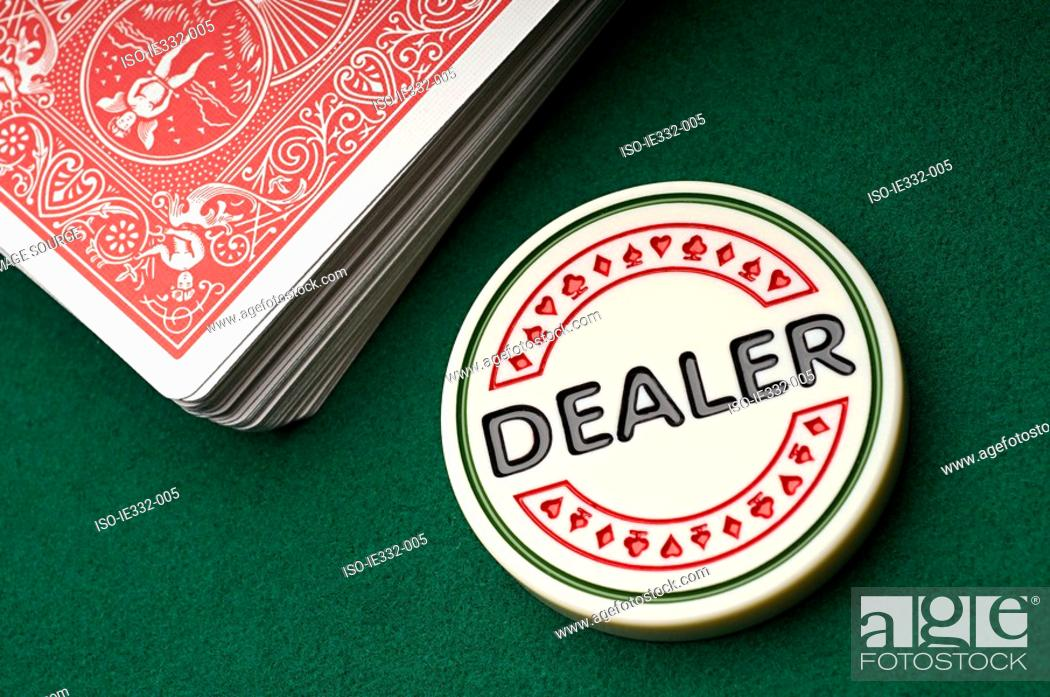 Stock Photo: Gambling chip and playing cards.