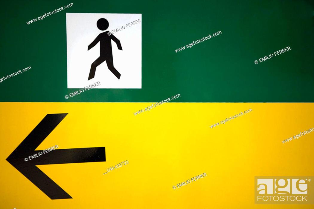 Stock Photo: Exit sign. Barcelona. Catalonia. Spain.