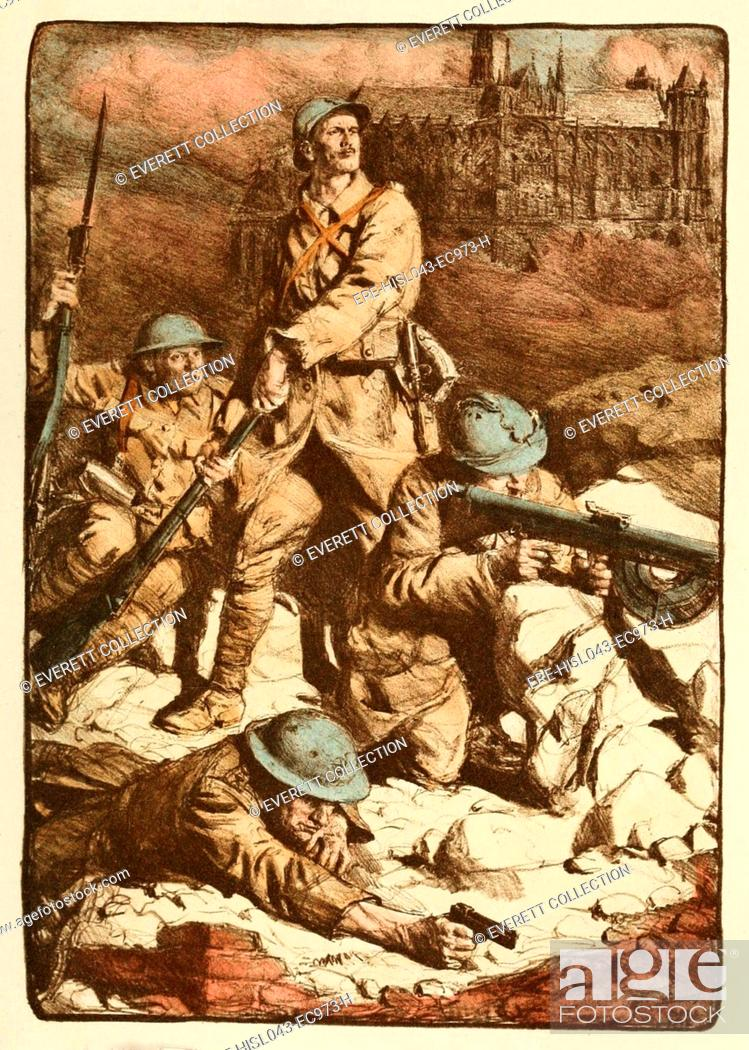 World War 1 French Drawing Called The Rampart Of Amiens By Lucian