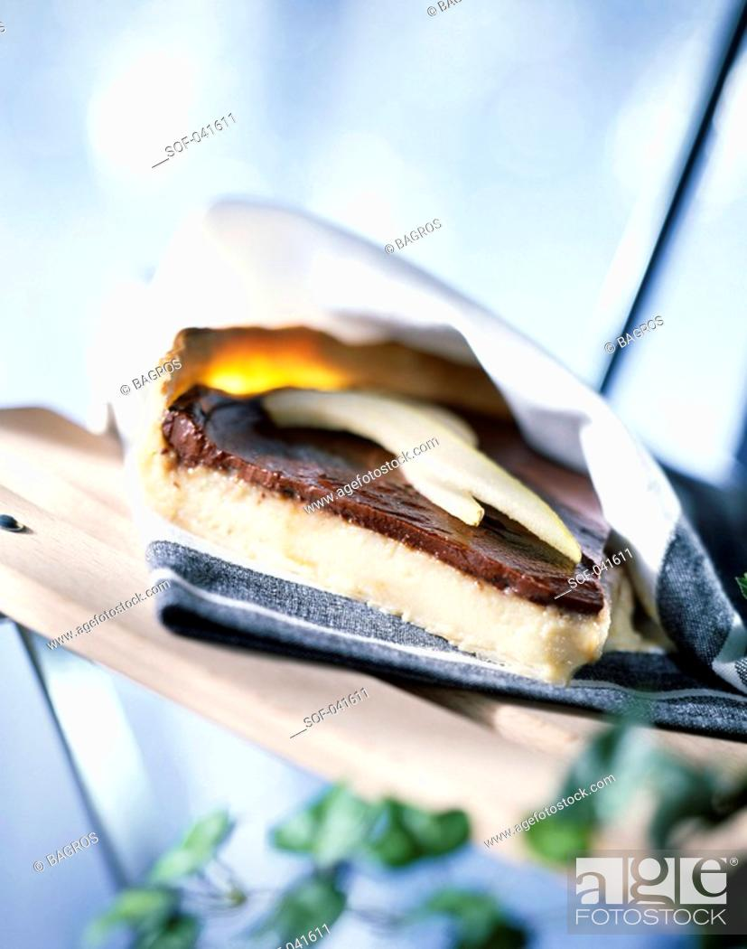 Stock Photo: slice of chocolate and pear tart.