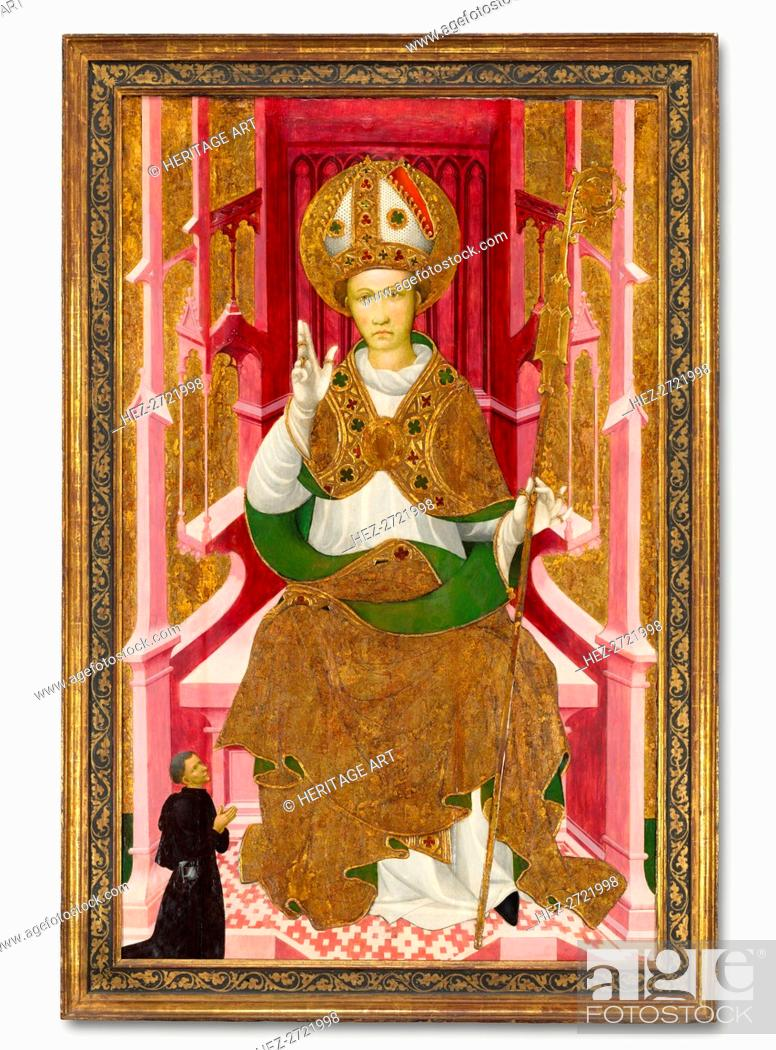 Stock Photo: A Bishop Saint with a Donor (Saint Louis of Toulouse?), early 1400s. Creator: Unknown.