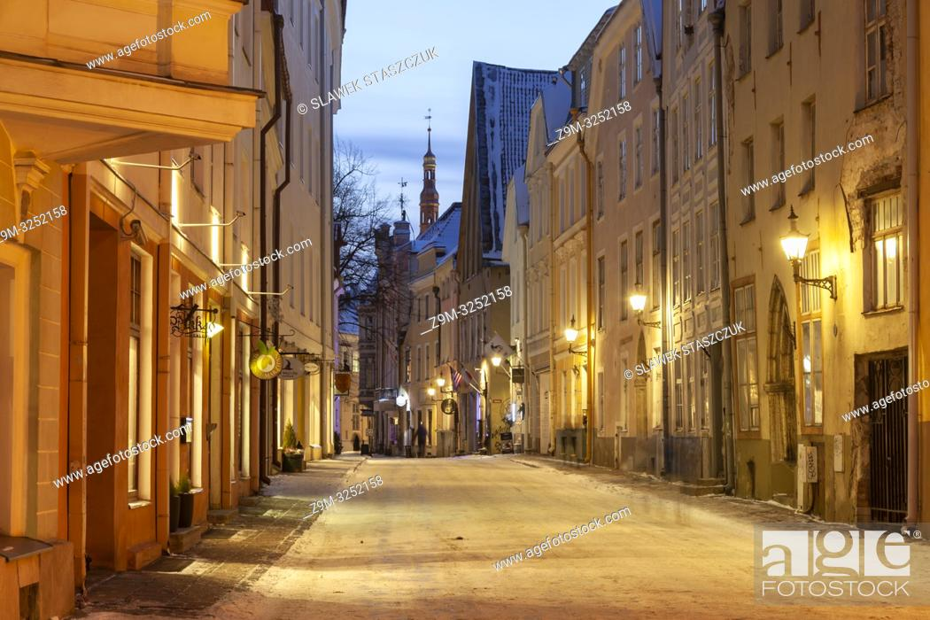 Stock Photo: Winter evening in Tallinn old town, Estonia.
