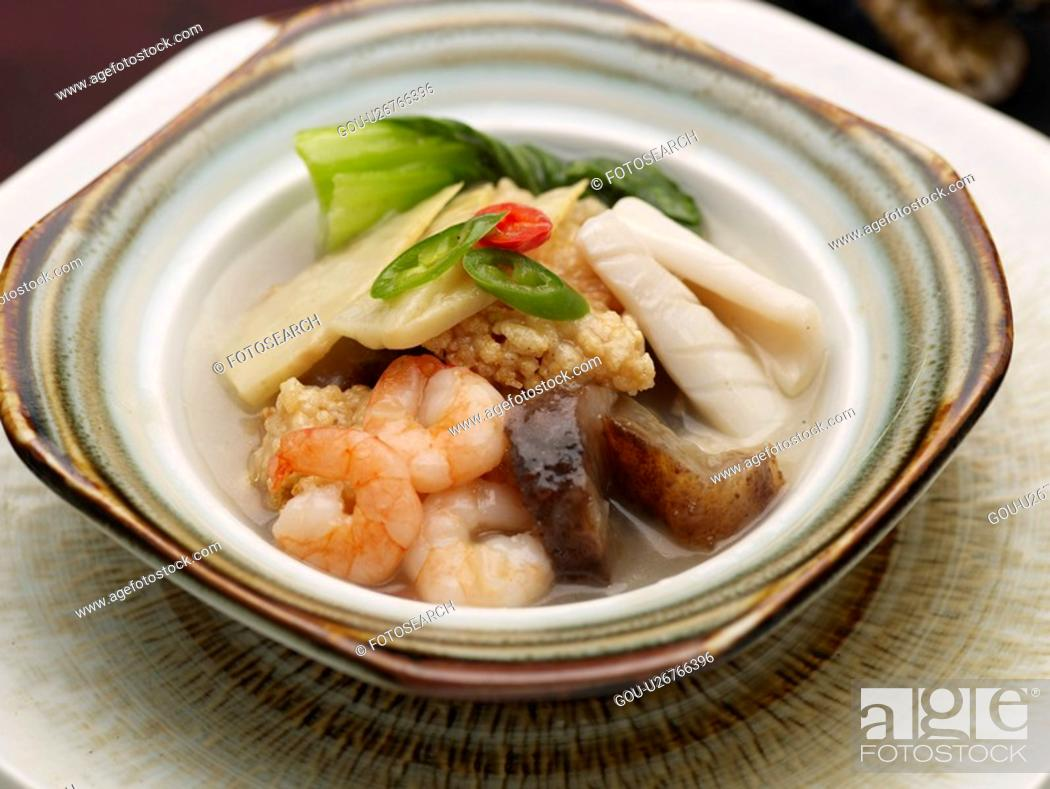 Stock Photo: Chinese, sizzling rice soup, dishes, dish, Food styling, Chinese Cuisine, sizzling rice soup.
