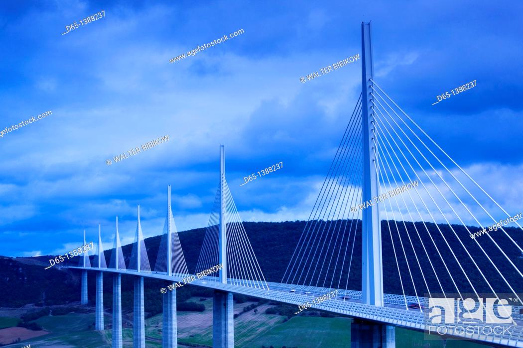 Stock Photo: France, Midi-Pyrenees Region, Aveyron Department, Millau, Millau Viaduct Bridge, dusk.