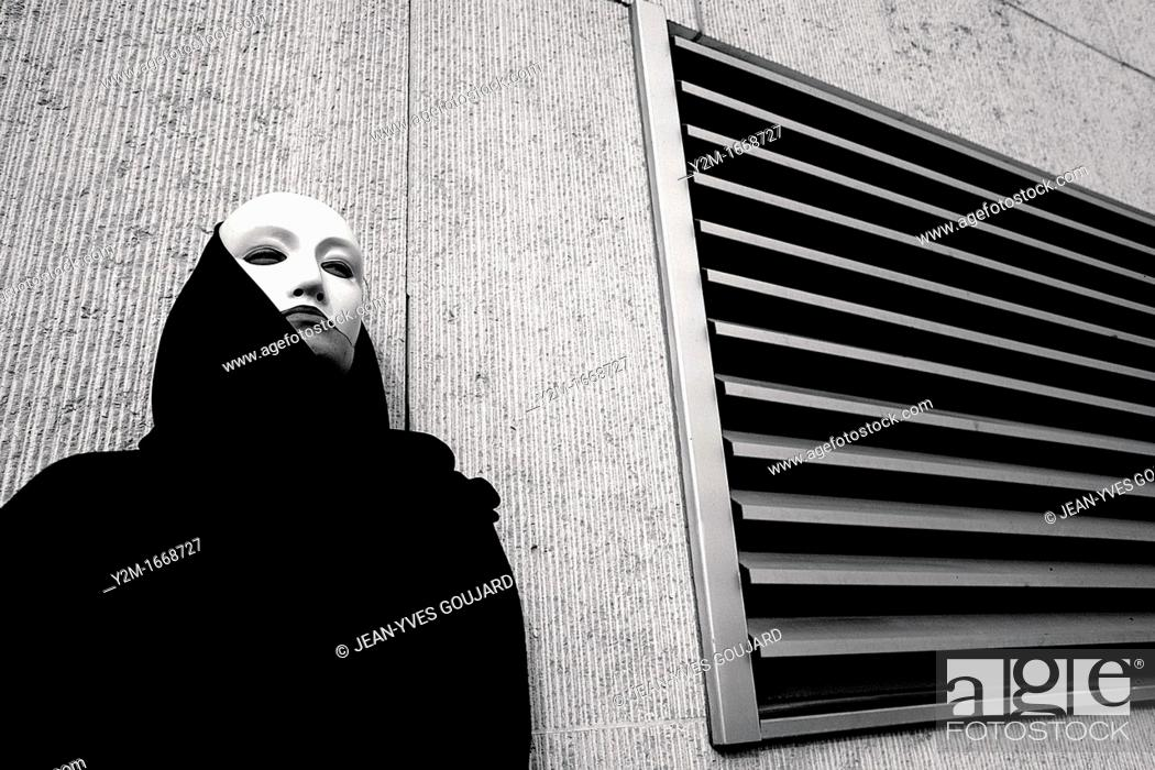 Stock Photo: Creative suite, Mask woman in the city.