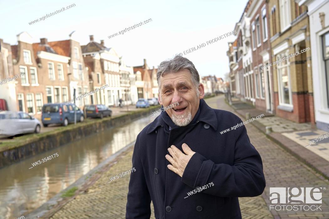 Stock Photo: soulful senior man in Bolsward, Friesland, Netherlands.