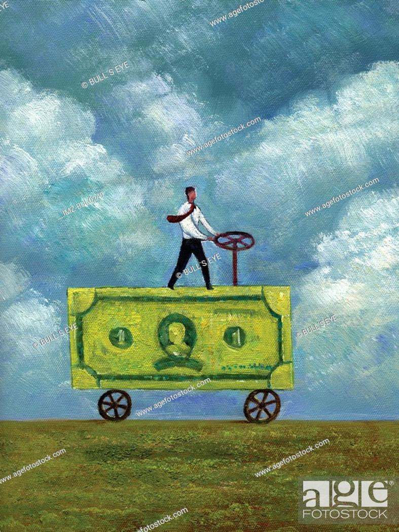 Stock Photo: Businessman driving a truck made of banknote.