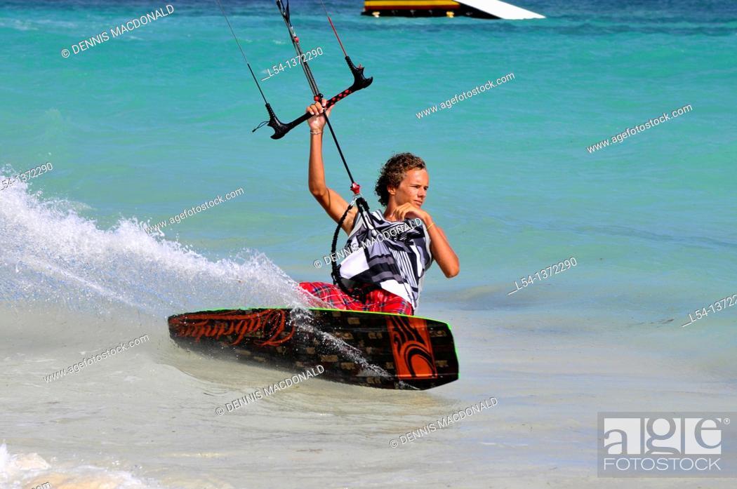 Stock Photo: Kitesurfing Jabberwock Beach St  John's Antigua Caribbean Cruise NCL.