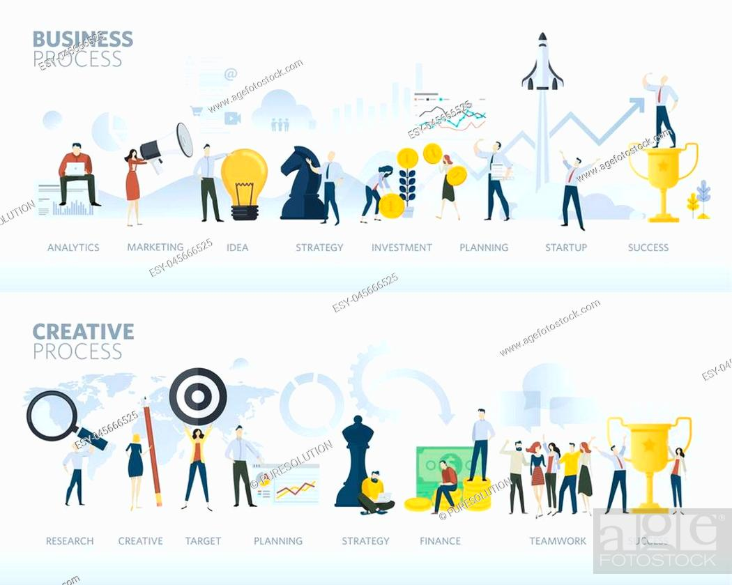 Vector: Vector illustration concepts for business plan, startup, design process, product development, creativity and innovation.