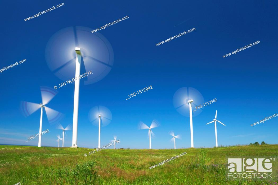 Stock Photo: Wind turbine, wind farm, Pomerania, Poland, Europe.