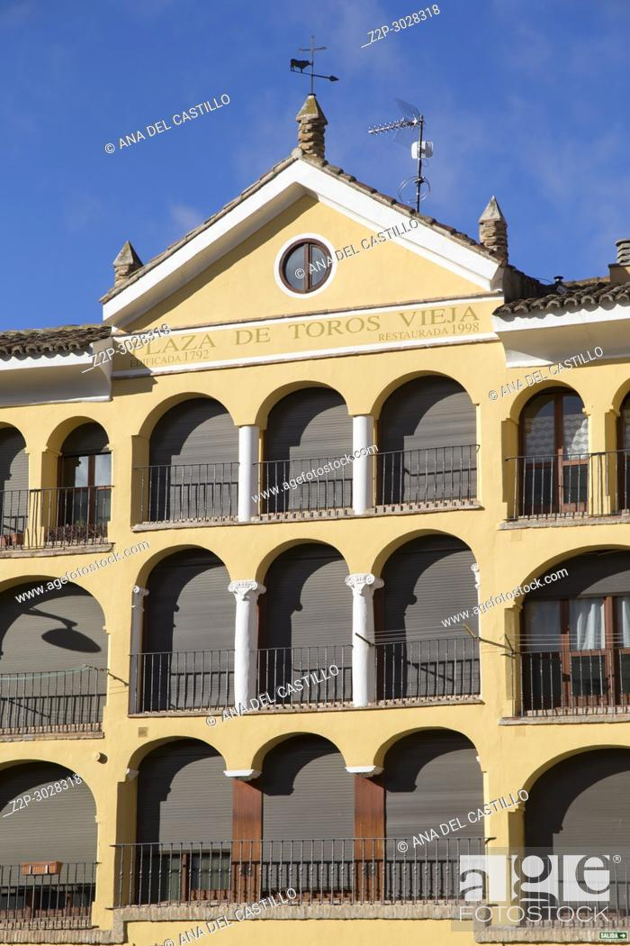 Stock Photo: Tarazona de Aragon is a historic town in Aragon, Spain.Old Tarazona bullring.