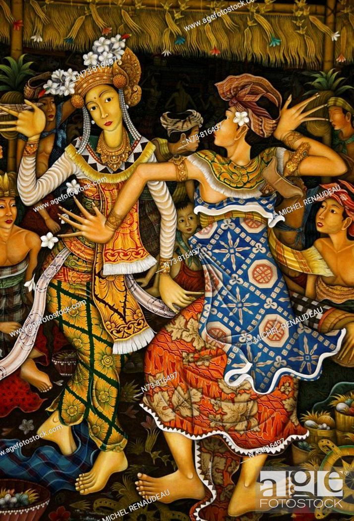 Stock Photo: Painting, Ubud, Bali, Indonesia.