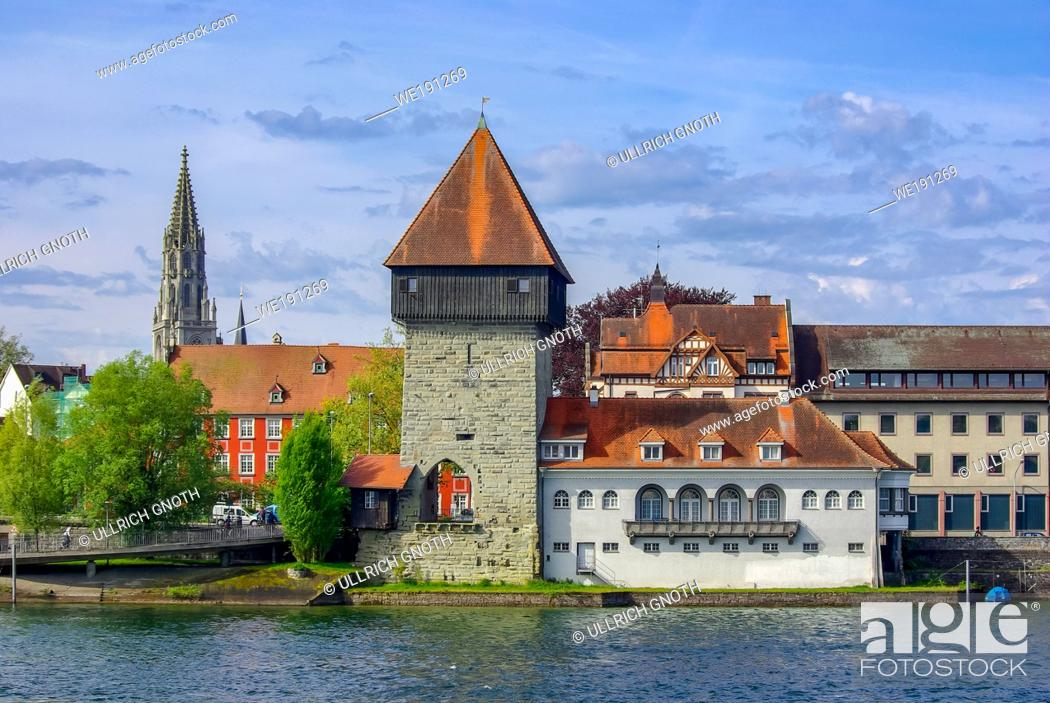 Stock Photo: The historic Rhine Gate Tower (Rheintorturm), the medieval northern town gate, in Konstanz at Lake Constance, Baden-Wurttemberg, Germany, Europe.