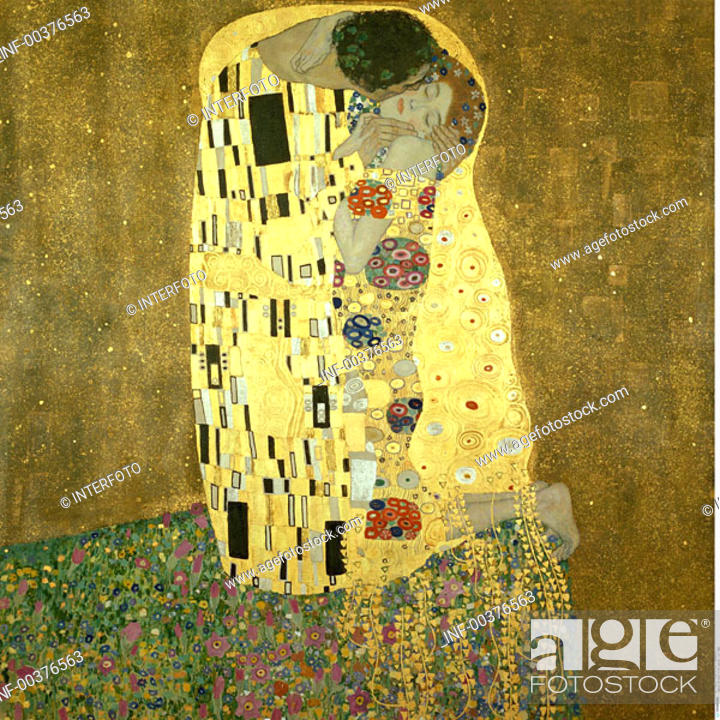 Stock Photo: fine arts, Klimt, Gustav, 1862 - 1918, painting, Der Kuss, the kiss, 1907 - 1908, oil, silver and gold on canvas, 180 cm x 189 cm.