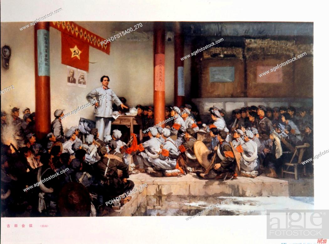 Stock Photo: Chinese propaganda poster Mao Zedong at the Conference of Gutian where the role of the Red Army was defined (1929). /Archives Snark.