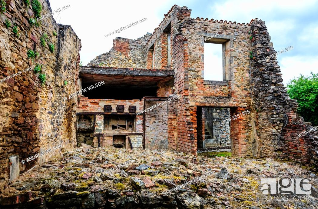 Stock Photo: Scene in the village of Oradour-sur-Glane - The Village of the Martyrs - left as it was on the instructions of the then President of France, Charles de Gaulle.