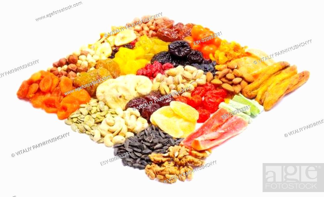 Stock Photo: mix dried fruits.