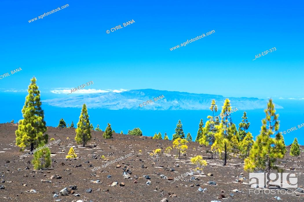Stock Photo: Spain - Canary Islands - Tenerife - National Park Las Canadas del Teide and view of the Island de la Gomera.