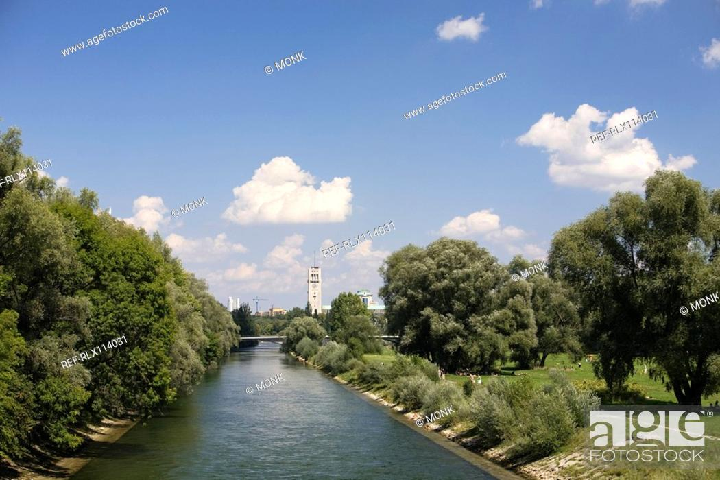 Stock Photo: River Isar River Isar with German museum in background Munich, Germany.
