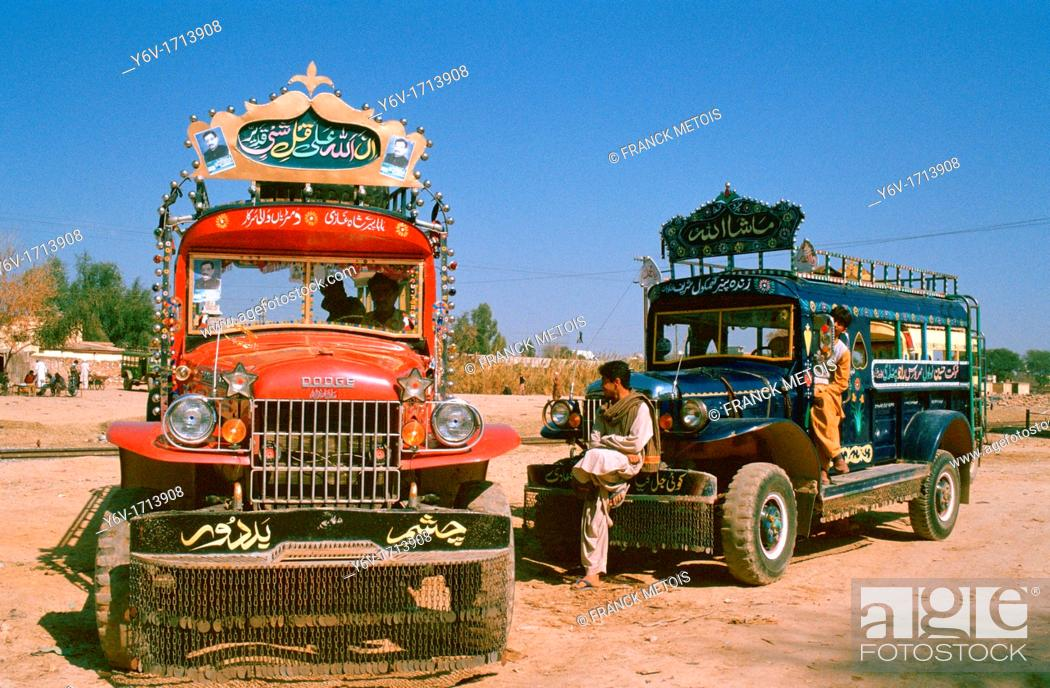 Stock Photo: Bus drivers and helpers are waiting for passengers ( Pakistan).