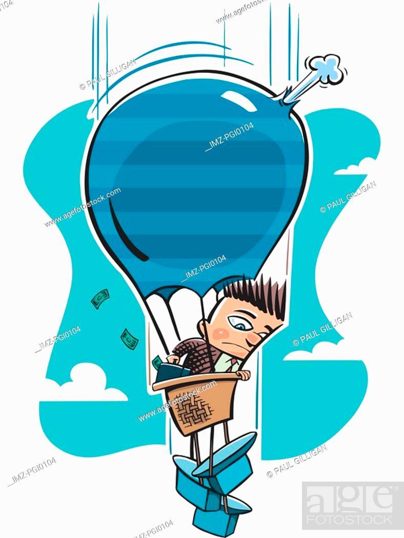 Stock Photo: businessman on a hot air balloon ride.