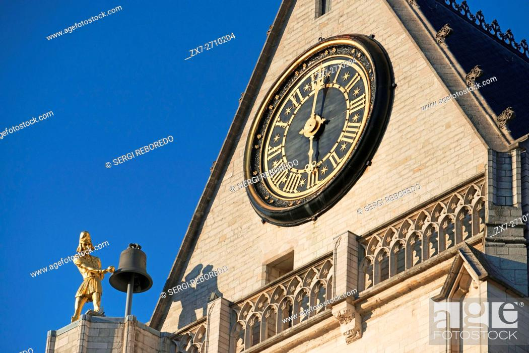 Stock Photo: Jacquemart / bellstriker / Jack of the Clock / O'clock at the Saint Peter's Church / Sint-Pieterskerk, Leuven / Louvain, Belgium.