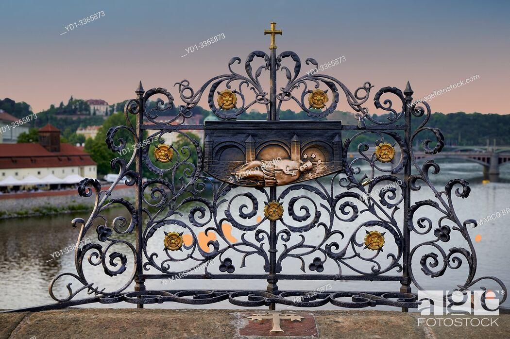 Stock Photo: Prague Czech Republic. Sculptures and artwork on Charles Bridge.