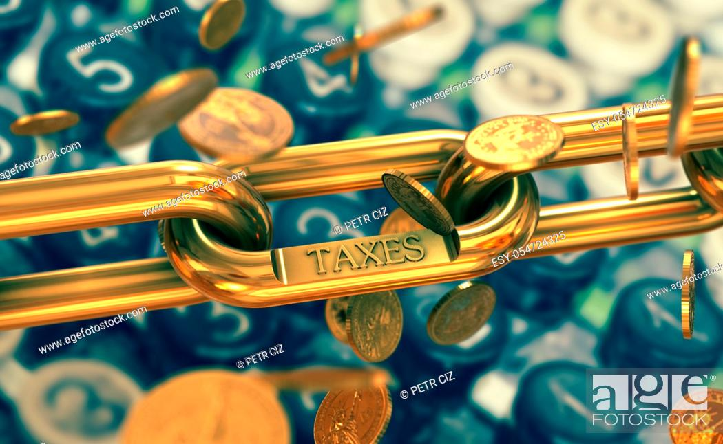 Stock Photo: Taxes symbol on gold chain with falling coins. Finance and costs on old calculator background.