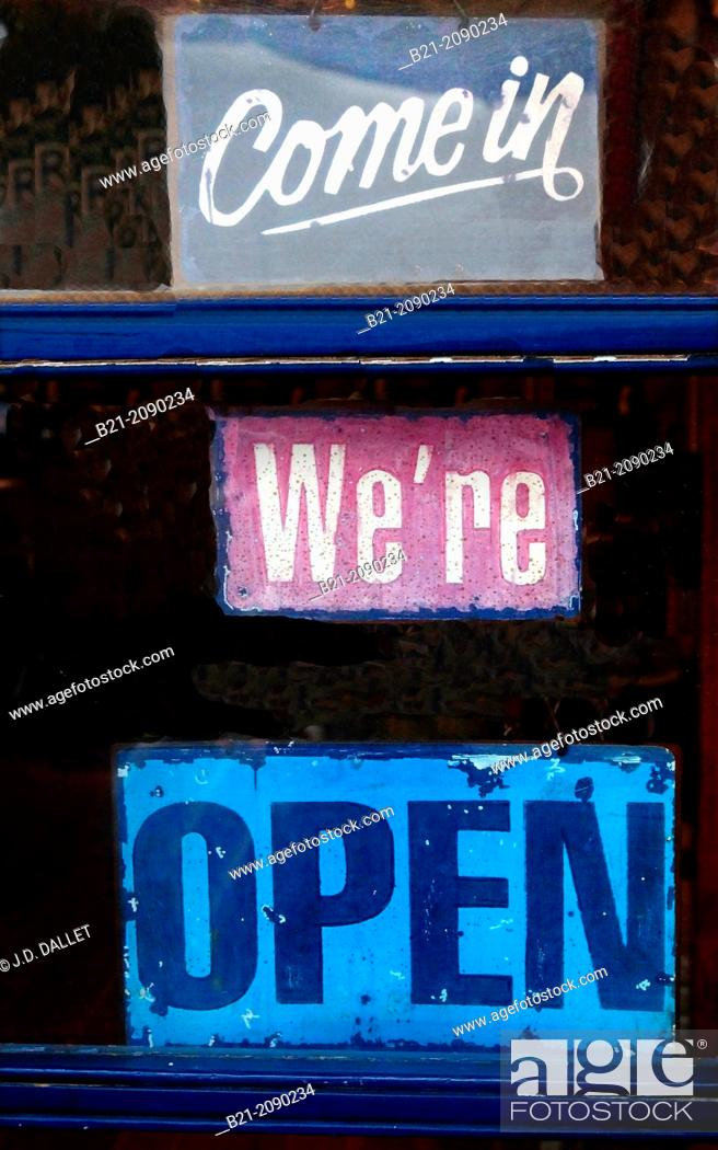 Stock Photo: Come in, We're Open sign, Newport, Oregon, USA.