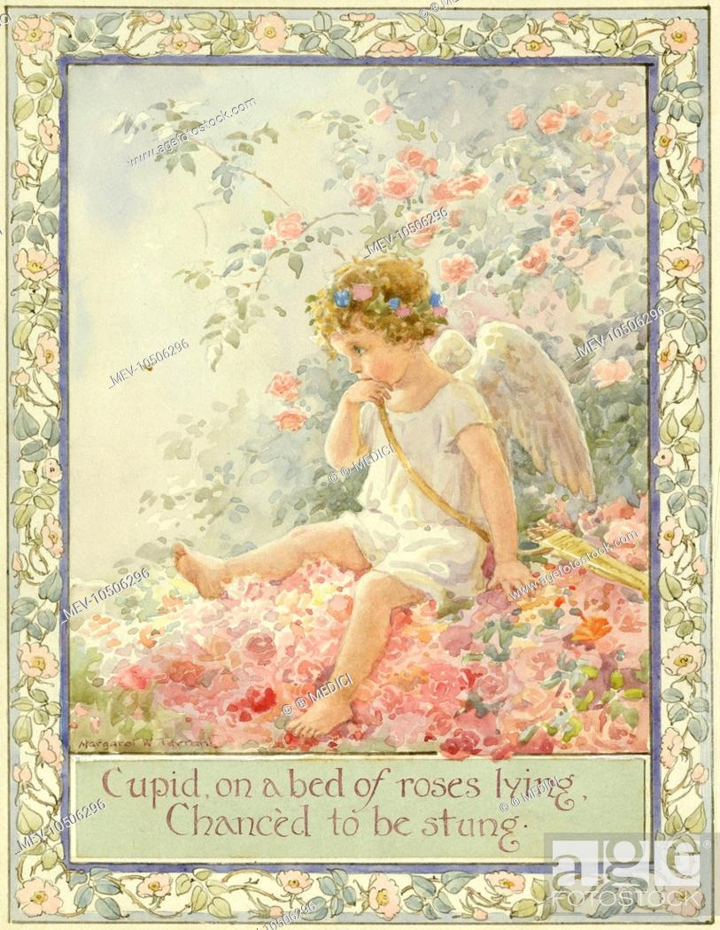 Cupid in a Bed of Roses