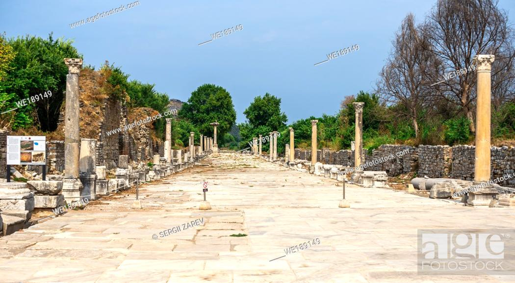 Stock Photo: Ephesus, Turkey. Harbor or Arcadian Street in antique Ephesus on a sunny summer day.